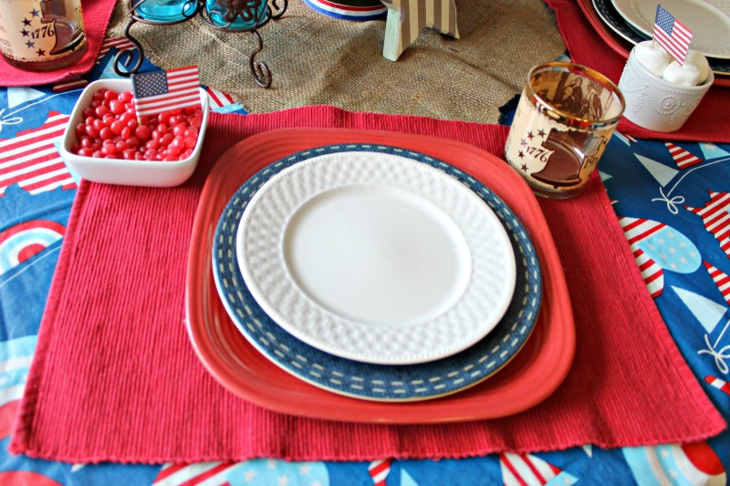 Red White and Blue Table setting. I used what I already have to create a festive Patriotic table setting without spending a dime