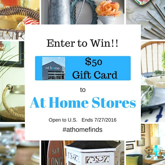 At Home Store $50 Gift Card giveaway. ends July 12, 2016
