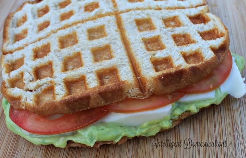 Waffle Iron Grilled Tomato & Avocado Sauce Sandwich with Mozerella