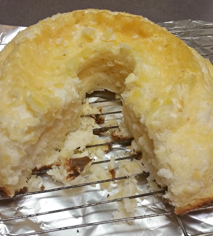 I have baked this Two Ingredient Pineapple Angel Food cake a few times now. This one was made in a fancy shaped bundt pan. No matter what pan it's baked in, it is always delicious