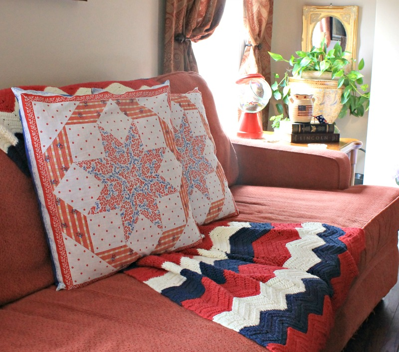 My summer den decor. I made pillow covers using thrifted fabric
