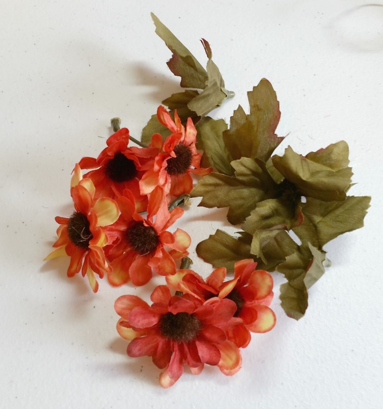 Pull the flowers and the leaves from the stems. They come off very easy