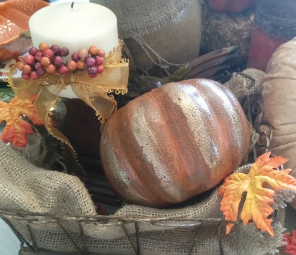 Dollar Store Styrofoam Pumpkin Makeover project. All you need is a little paint for a chic new look to a dollar store pumpkin.