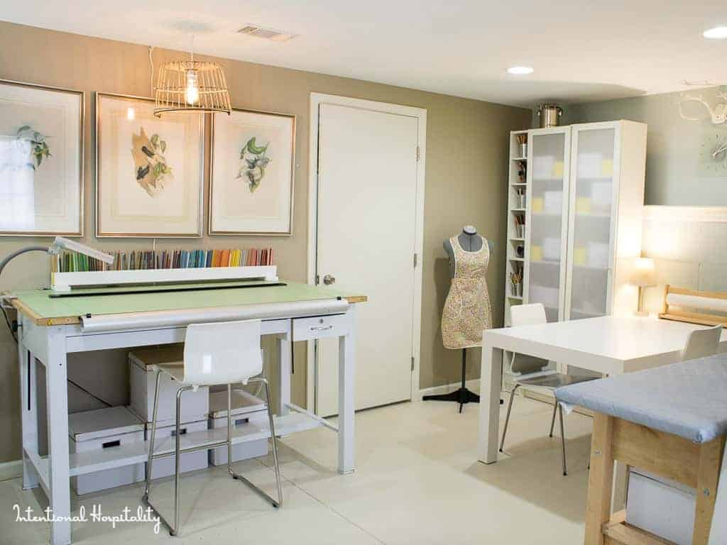 Intentional Hospitality, Where Bloggers Create 2015  |  My studio is happy place, a place to be creative whether it's working in colored pencils, watercolors, sewing, crafts or photography there is space to do it all. There is also storage to keep all my supplies neatly in order.