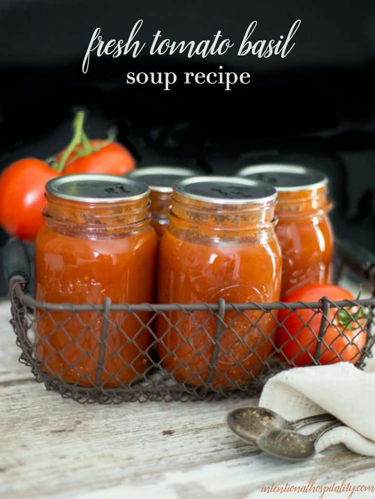 Fresh tomatoes, basil, butter and cream create a warm comforting bowl of soup when you make this Fresh Tomato Basil Soup Recipe.  Canning the tomato base ahead during the peak of tomatoes season will make it even easier to warm up to a bowl during the cold winter months.