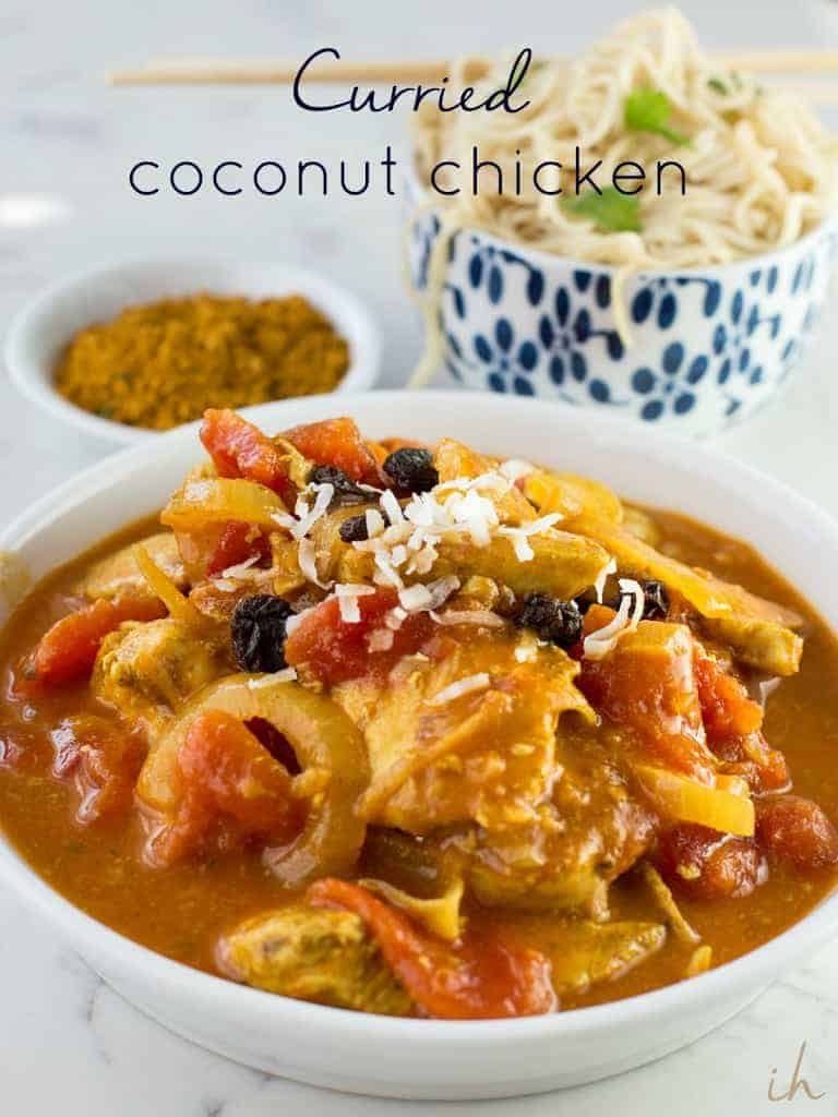 Curried Coconut chicken is a sweet and spicy exotic-tasting dish that is an easy, crowd pleasing one pan meal.