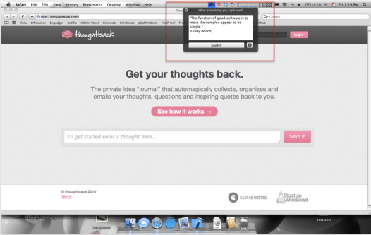 Thoughtback Screenshot