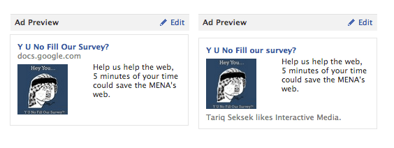 interactive ME Facebook advertisements
