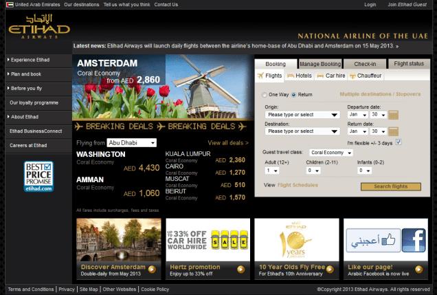 etihad homepage screenshot