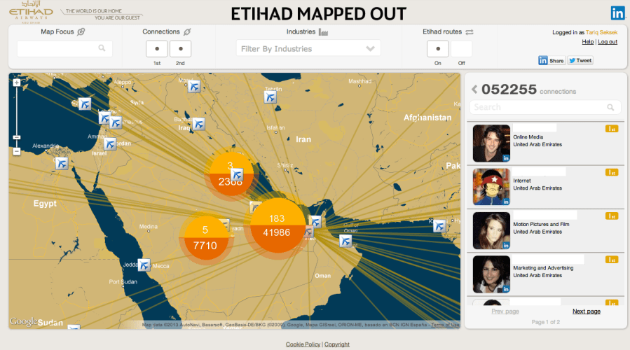 Etihad Airways Linkedin Connections Map