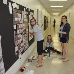 Students pinning up work