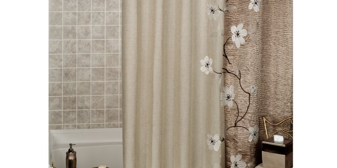 creative look in your bathroom with nice modern curtain