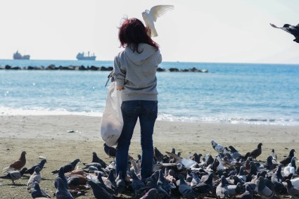 Frantzi attracts a crowd each morning when she feeds the birds.