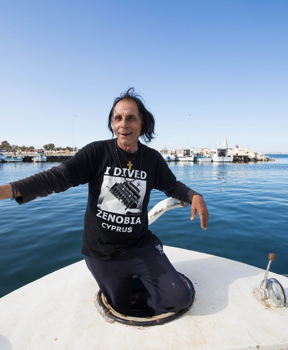Antonios Mouchlis sits outside his boat in Limassol, Cyprus on March 19, 2016. Mouchlis has been fishing since he was a little boy and is one of the many fishermen who have been affected by the overfishing in Cyprus.