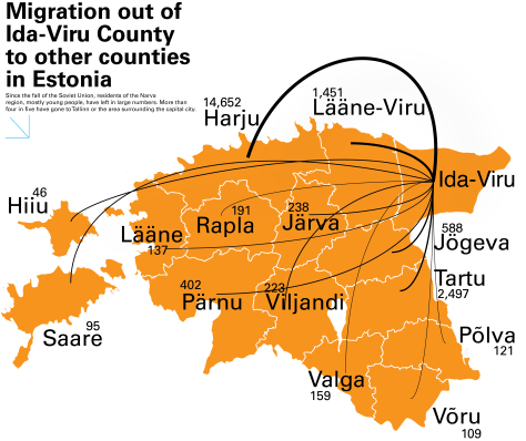This map indicates the spread of population migration from the Narva region from 1990 to 2012. Graphic by: Ada Marcantonio Source: Statistics Estonia