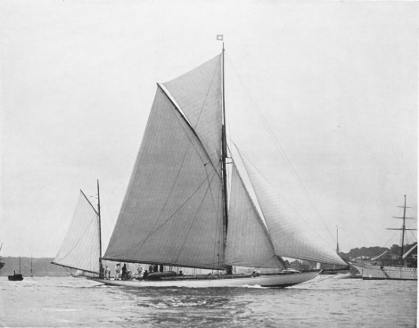 More photos from The Yachtsman - including a legendary actress and mistress to Royalty - racing sailing yacht Caress rigged as a yawl