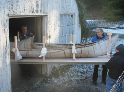 Enys birch bark canoe sees daylight for the time in decades