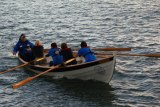 Derek Chafer sits in as cox with members of St Ayles rowing club, Anstruther with the ladies at the oars..