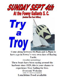 Try a Troy at the Fowey Gallants Sailing Club poster