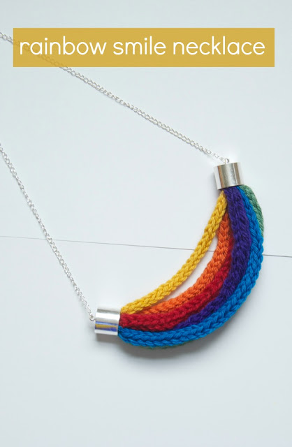Rainbow Smile Necklace Knitting Pattern | Necklace Knitting Patterns at http://intheloopknitting.com/necklace-knitting-patterns/