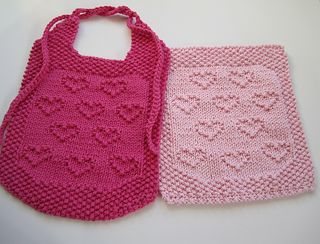 Hearts for Ruthie Free Baby Bib and Cloth Knitting Pattern