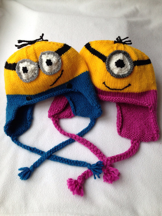 Free Crochet Pattern For Minion Hat With Ear Flaps : Fun Hats Knitting Patterns In the Loop Knitting