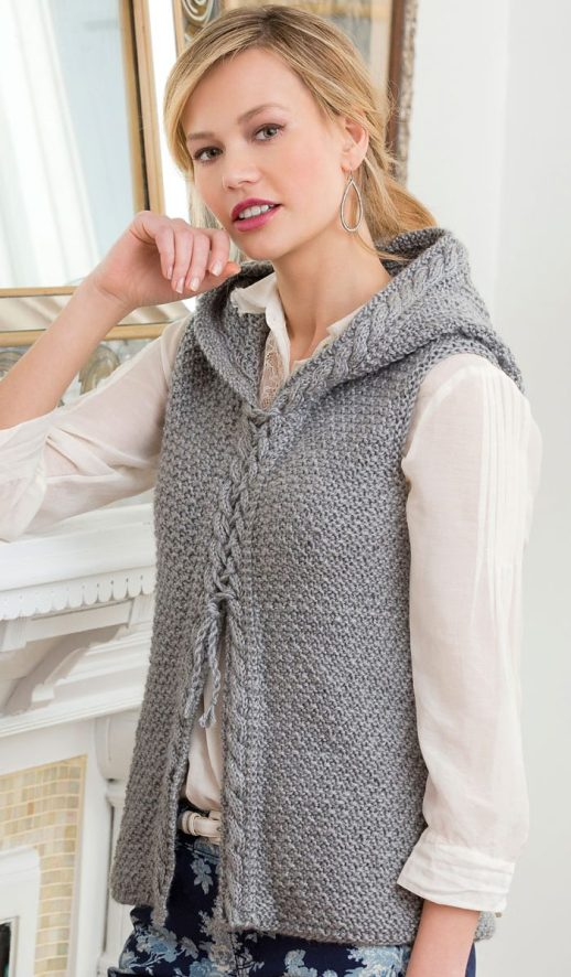 Free Knitting Pattern for Hooded Cable Vest