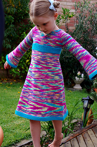 Free knitting pattern for Oriental Lily Dress for child sizes
