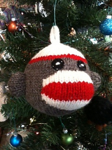 Free knitting pattern for Sock Monkey Ornament and other Christmas decoration knitting patterns