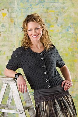 Free knitting pattern for cropped short sleeve cardigan Dot & Dash and more cropped cardigan knitting patterns