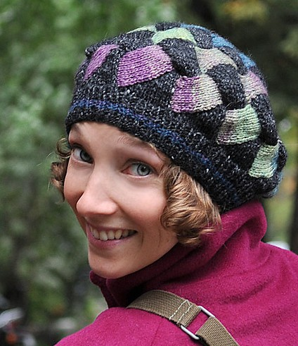 Free knitting pattern for slouchy entrelac hat Fourth Grade Hat - great for multi-color yarn or stash busting