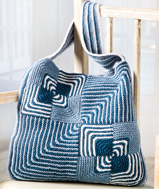 Knitting pattern for Stitch Sampler Boho Tote
