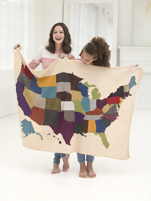 Free knitting pattern for USA Map Afghan