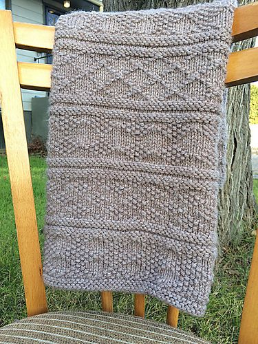 Free Easy Knitting Pattern for Guernsey Style Baby Blanket