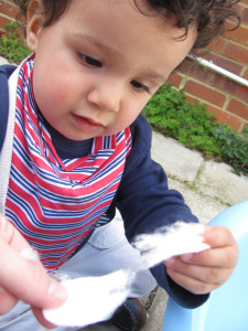 sensory play cotton wool