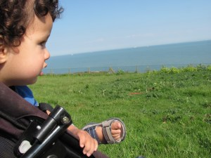 baby looking out over the sea dover south foreland lighthouse