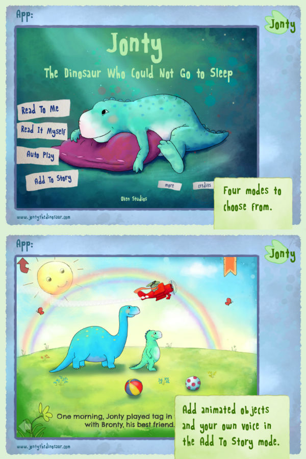 Jonty The Dinosaur Who Could Not Go to Sleep - Beautifully illustrated children's E-book about a loveable dinosaur
