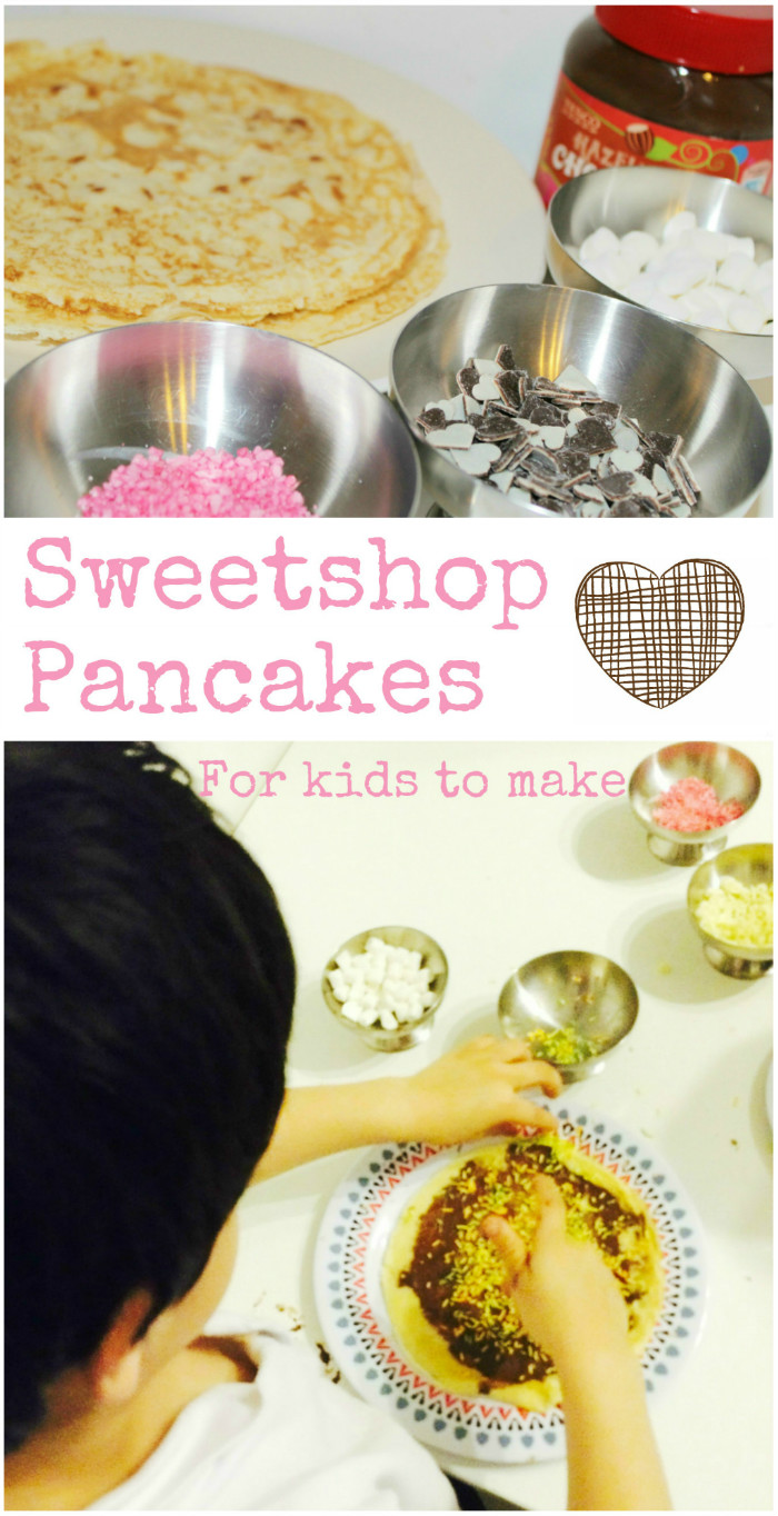 Sweet shop pancakes for kids to make. These fun pancake treats work well for pancake day, Valentines day or all year round