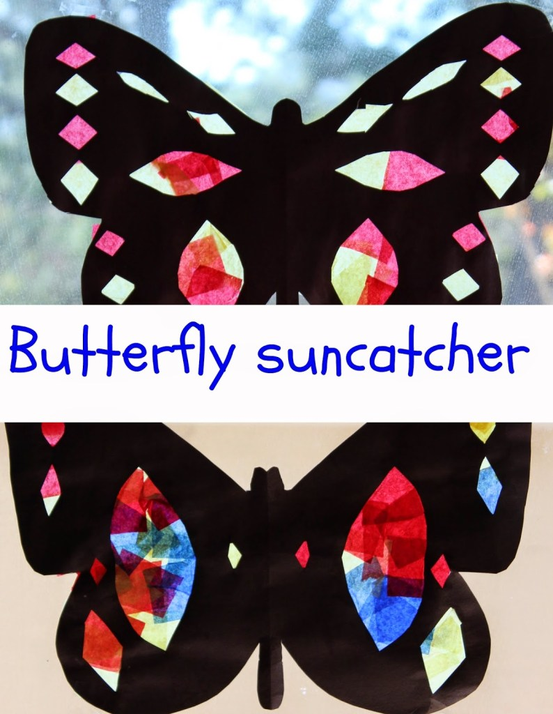 butterfly suncatcher colourful craft for kids
