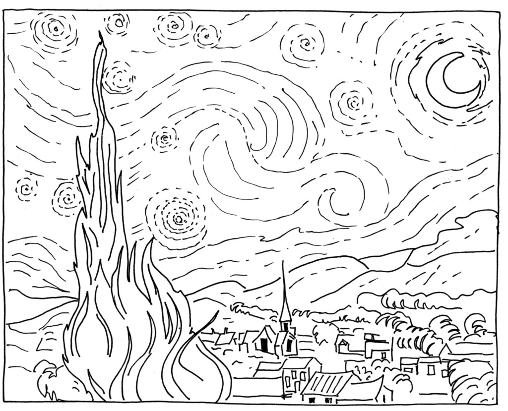Line Art Painting : Sponge painting van gogh starry night in the playroom
