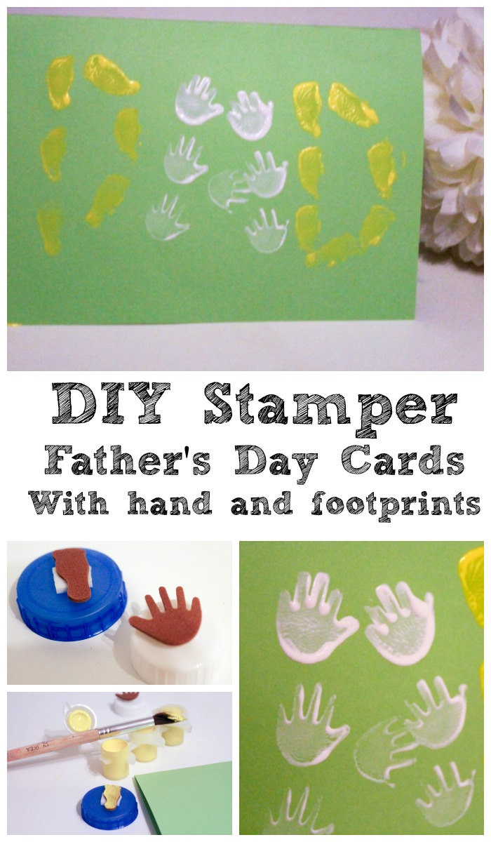DIY Stamper Father's Day card with handprints and footprints, made from a bottle top