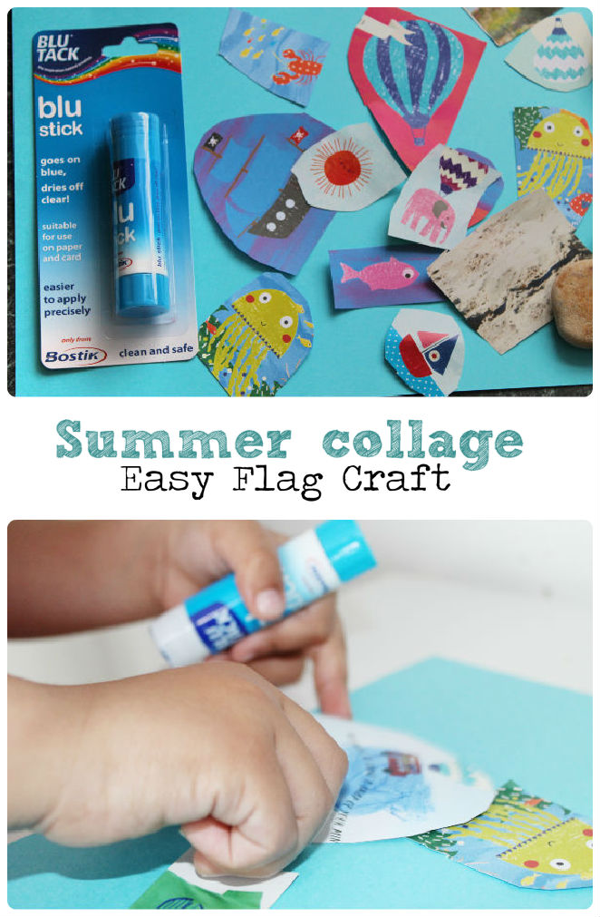 Make a simple collage flag craft - this is a super easy summer craft, and pretty mess free