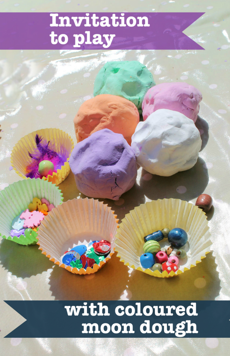 Invitation to play with coloured moon dough - exploring colour matching, colour mixing and more
