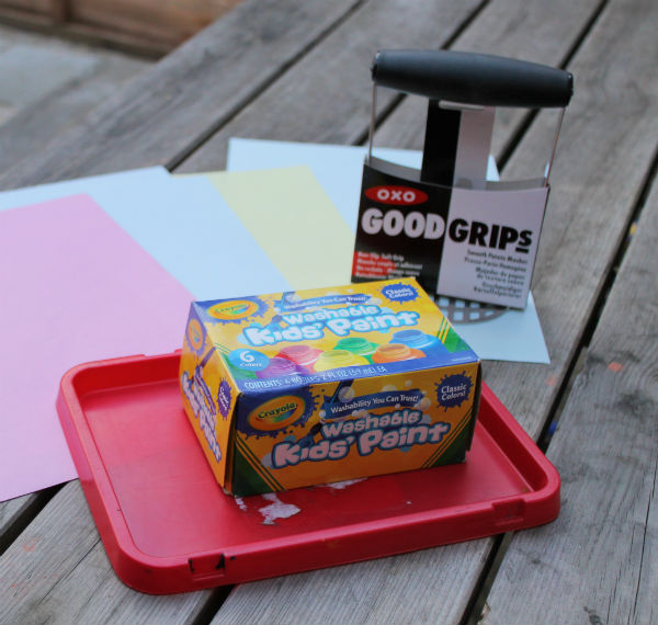painting activity with a potato masher