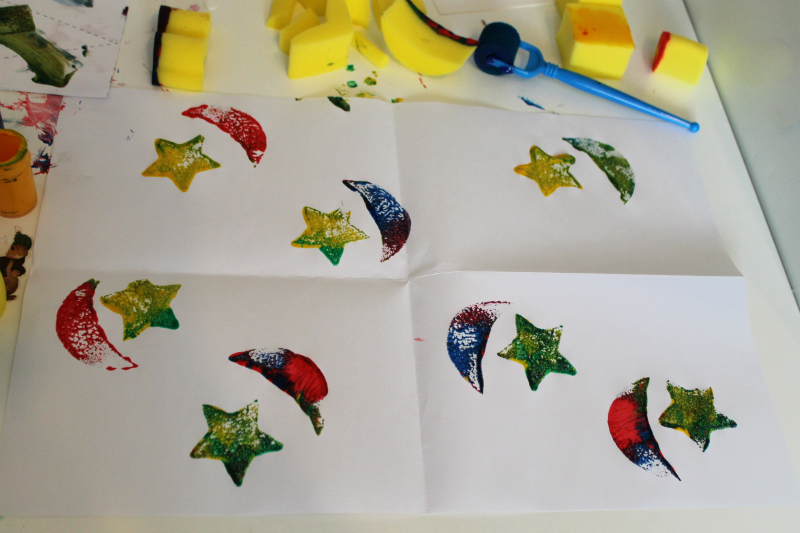 star crescent wrapping paper home made gift wrap for eid
