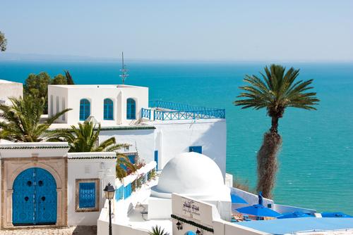 Tunisia beach with beautiful blue sea