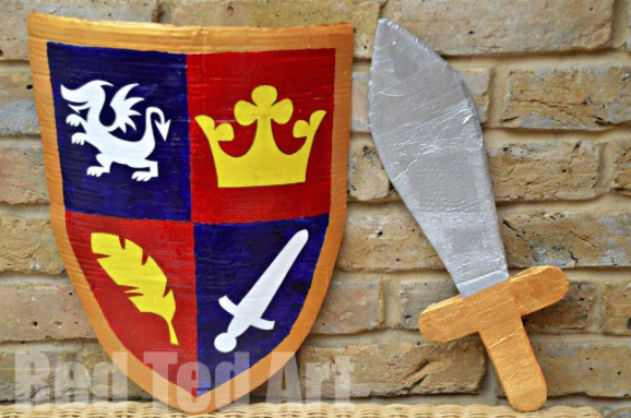 knights sword and shield, accessories for an easy knights costume
