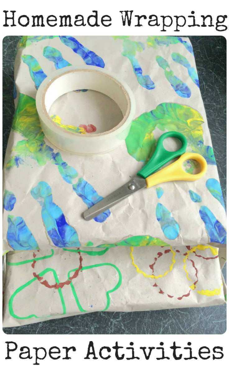 Homemade wrapping paper activities for kids - We made with hand prints and using cookie cutters