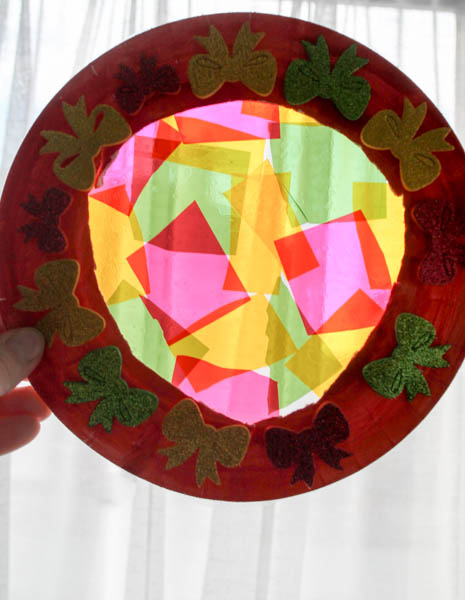 stained glass wreath festive craft for kids
