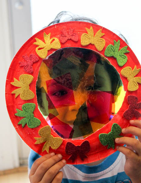 colourful stained glass wreath festive craft for kids